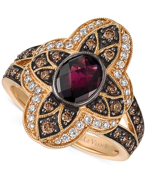 Le Vian Chocolatier Rhodolite Garnet (1 ct. t.w.) and Diamond (5/8 ct. t.w.) Statement Ring in 14k Rose Gold