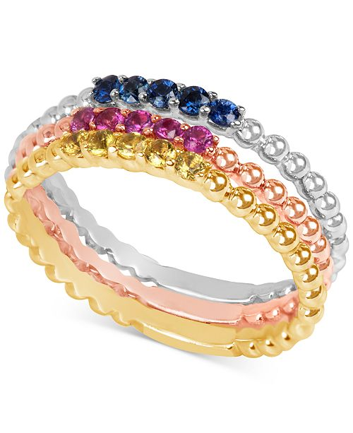 Macy's Multi-Sapphire Tri-Tone 3-Pc. Set Stacking Rings in 14k White, Yellow, and Rose Gold