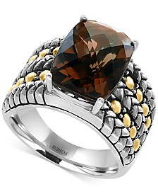 EFFY® Smokey Quartz Statement Ring (6 ct. t.w.) in Sterling Silver and 18k Gold