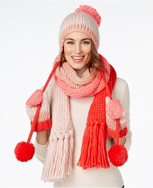 kate spade new york Chunky Knit Colorblock Trapper Hat da37bff12ff