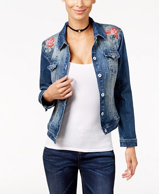 INC International Concepts Embroidered Denim Jacket, Only at ...