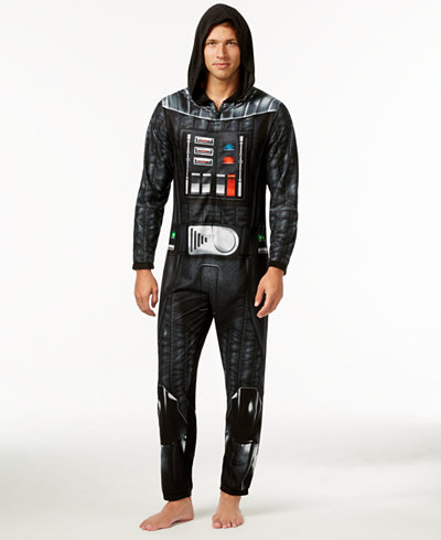 Star Wars Men's Darth Vader Hooded One-Piece Pajamas from Briefly ...