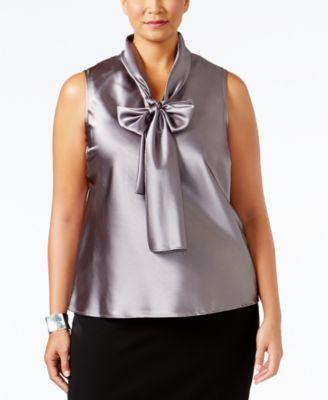 Nine West Plus Size Tie-Neck Blouse