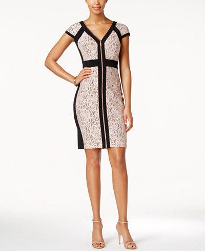 JAX Colorblocked Lace Zip-Front Bodycon Dress