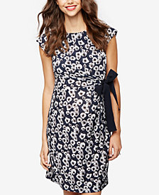 Taylor Maternity Printed Cap-Sleeve Dress