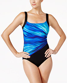 Reebok Bright Horizon Printed Active One-Piece Swimsuit