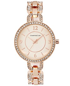 Women's Pavé Rose Gold-Tone Bracelet Watch 33mm, Created for Macy's