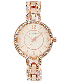 Charter Club Women's Pavé Rose Gold-Tone Bracelet Watch 33mm, Created for Macy's