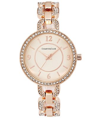 Charter Club Women's Pavé Rose Gold-Tone Bracelet Watch 33mm, Only at Macy's