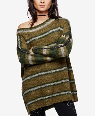 Free People Embellished Striped Tunic Sweater