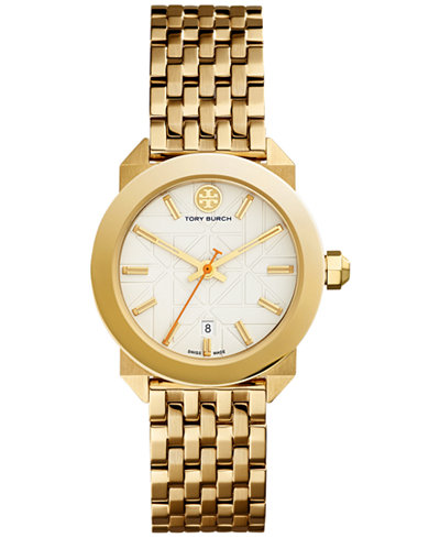 Tory Burch Women's Swiss Whitney Classic Gold-Tone Stainless Steel Bracelet Watch 35mm TRB8002