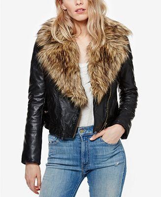 Free People Faux-Fur-Trim Faux-Leather Moto Jacket - Jackets ...
