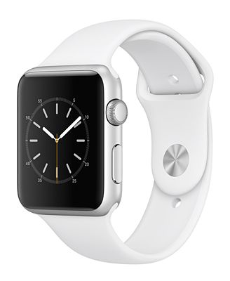 Apple Watch Series 1 42mm Silver-Tone Aluminum Case with White Sport Band