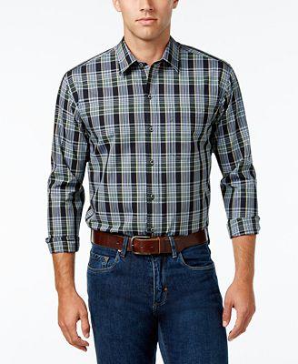Cutter & Buck Men's Woodland Plaid Poplin Shirt