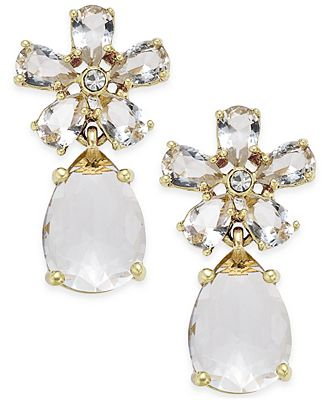 kate spade new york gold tone white drop earrings