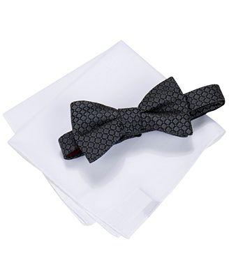 alfani s square neat bow tie solid pocket square set
