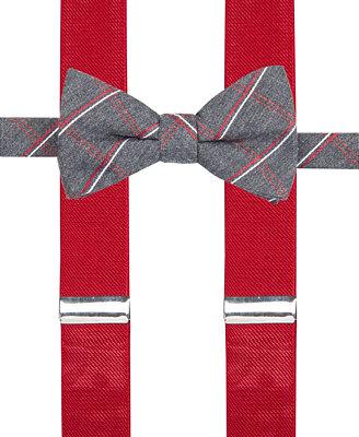 alfani s grid bow tie suspender set only at