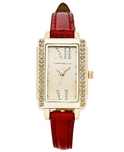 Charter Club Women's Red Leather Strap Watch 22x30mm, Only at Macy's