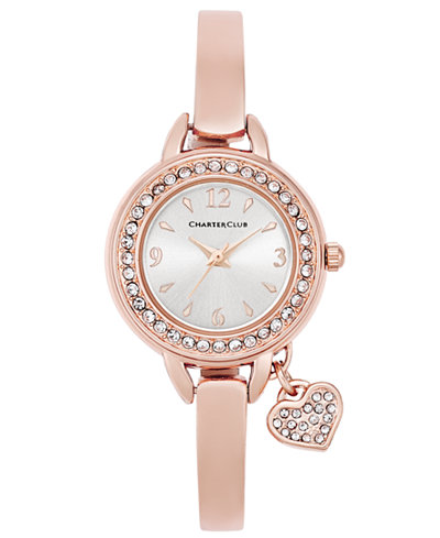 Charter Club Women's Rose Gold-Tone Bangle Bracelet Watch with Heart Charm 26mm, Only at