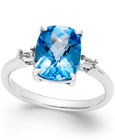 Swiss Blue Topaz (3-3/4 ct. t.w.) and Diamond Accent Ring in Sterling Silver