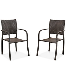 Clark Set of 2 Wicker Stackable Club Chairs, Quick Ship