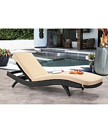 Messura Outdoor Wicker Adjustable Chaise Lounge w/Cushion, Quick Ship
