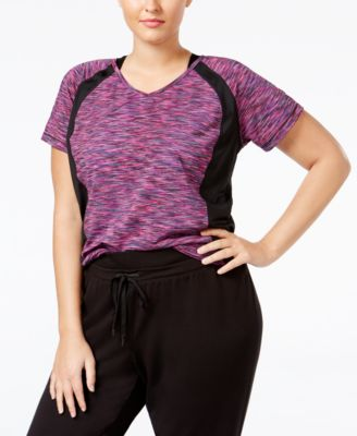 Ideology Plus Size Space-Dyed Performance T-Shirt, Only at Macy's