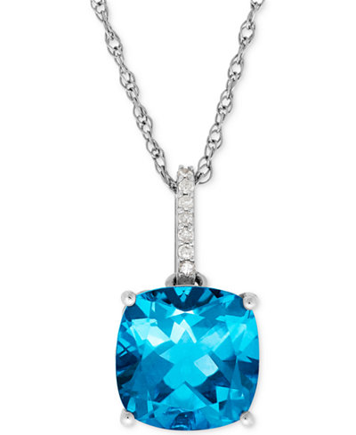 Blue Topaz (5-1/4 ct. t.w.) and Diamond Accent Pendant Necklace in 14k White Gold