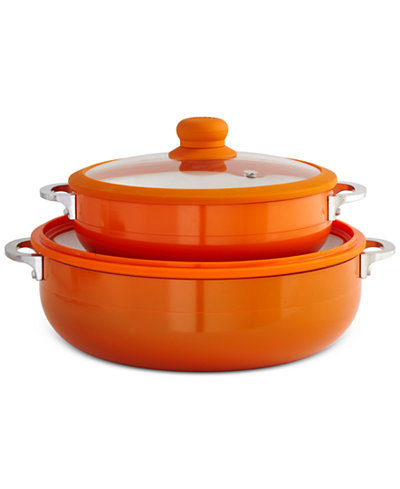 Imusa 2 pc orange ceramic caldero set cookware for Kitchen set orange
