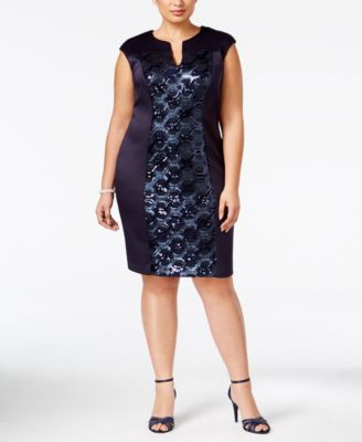 Connected Plus Size Sequined-Panel Sheath Dress