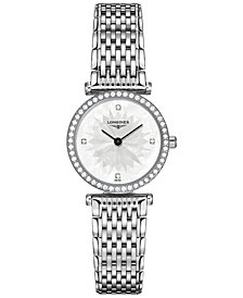 Longines Women's Swiss La Grande Classique de Longines Diamond (3/8 ct. t.w.) Stainless Steel Bracelet Watch 24mm L42410256