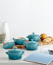 Le Creuset Stoneware Set of 4 Petite Casseroles with Cookbook