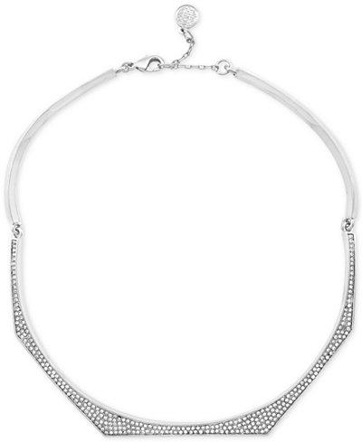 Vince Camuto Silver-Tone Pav� Collar Necklace