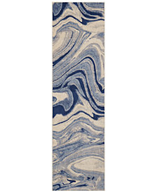 "CLOSEOUT! Nourison Moraine MO749 Light Blue 2' x 5'9"" Runner Rug"