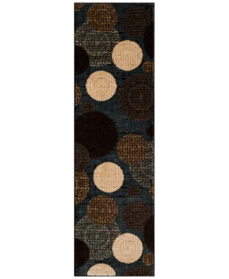"""CLOSEOUT!!!  Sanford Comet Black/Blue 2'3"""" x 7'7"""" Runner Rug, Created for Macy's"""