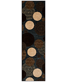 "CLOSEOUT!!!  KM Home Sanford Comet Black/Blue 2'3"" x 7'7"" Runner Rug, Created for Macy's"