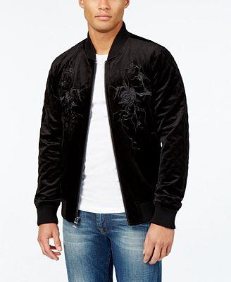 GUESS Men's Fulham Velvet Bomber Jacket - Coats & Jackets - Men ...