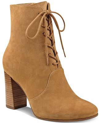 Marc Fisher Edina Block-Heel Lace-Up Ankle Booties - Boots - Shoes ...