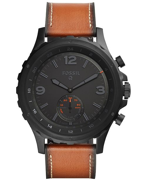 Fossil Q Mens Nate Dark Brown Leather Strap Hybrid Smart Watch 50mm