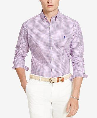 Polo ralph lauren men 39 s printed long sleeve poplin shirt for Polo ralph lauren casual button down shirts