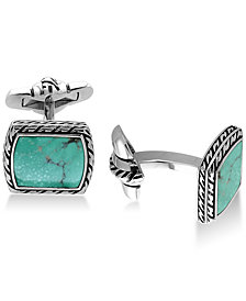 EFFY® Men's Manufactured Turquoise (12-1/2 x 9-1/2mm) Cuff Links in Sterling Silver