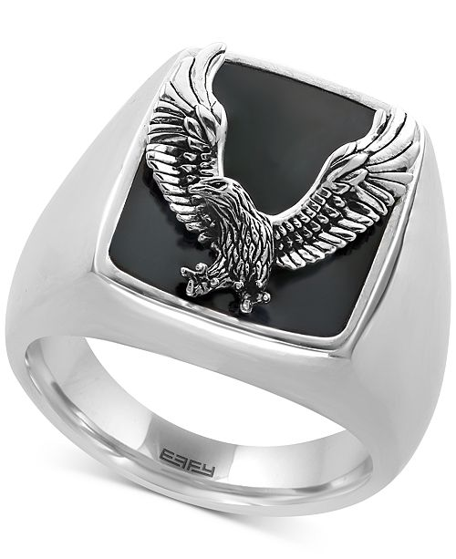 EFFY Collection EFFY® Men's Onyx (16-3/4 x 13-1/2mm) Eagle Ring in Sterling Silver