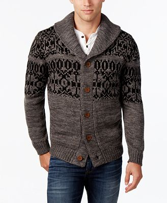 Weatherproof Vintage Men's Fair Isle Cardigan, Classic Fit ...