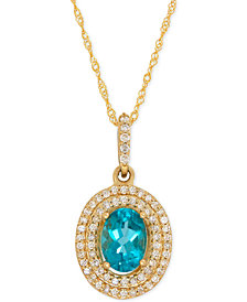 Apatite (9/10 ct. t.w.) and Diamond (1/5 ct. t.w.) Halo Pendant Necklace in 14k Gold