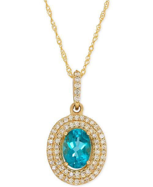 Macy's Apatite (9/10 ct. t.w.) and Diamond (1/5 ct. t.w.) Halo Pendant Necklace in 14k Gold