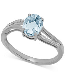 Aquamarine (1-1/10 ct. t.w.) and Diamond Accent Ring in 14k White Gold