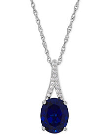 Lab-Created Sapphire (3-5/8 ct. t.w.) and White Sapphire Accent Pendant Necklace in Sterling Silver