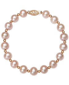 Pink or White Cultured Freshwater Pearl (7-1/2mm) Bracelet in 14k Rose Gold