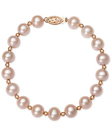 Belle de Mer Pink or White Cultured Freshwater Pearl (7-1/2mm) Bracelet in 14k Rose Gold