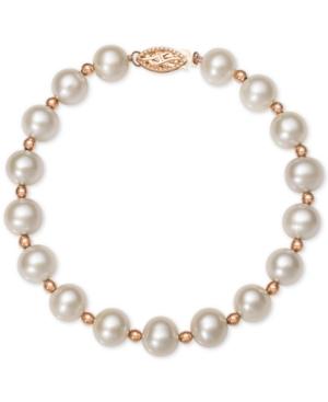 Pink or White Cultured Freshwater Pearl (7-1/2mm) Bracelet in 14k Rose Gold